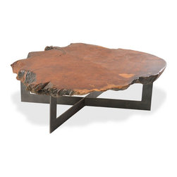 Rotsen Furniture - Radica Redwood Round Coffee Table - Metal Base - Rotsen Furniture creates strikingly sculptural designs that take their unrivaled beauty from the combination of exotic woods and contrasting materials.