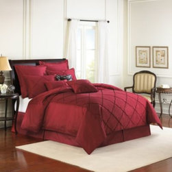 Veratex, Inc./bedding Div. - Diamonte Embroidered 4-Piece Reversible Comforter Set in Merlot - Rich diamond embroidery brings a classical look to your bedroom with the Diamonte comforter set. This luxuriously soft faux-silk bedding is embellished with a beautiful medallion made with chenille yarn and reverses to a beautiful solid chocolate ground.