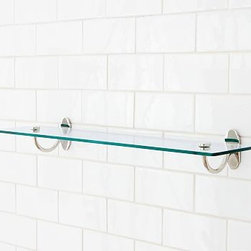 """Covington Glass Shelf, 18"""", Polished Nickel finish - We designed our Covington Collection in the style of antique fittings found on turn-of-the-century trains. Each piece is crafted of naturally strong and rust-resistant solid brass. 18"""" or 24"""" long Cast of brass and stainless steel thickly plated for strength. Shelf is made of tempered safety glass. Hand-applied finish. View our {{link path='pages/popups/fb-bath.html' class='popup' width='480' height='300'}}Furniture Brochure{{/link}}."""