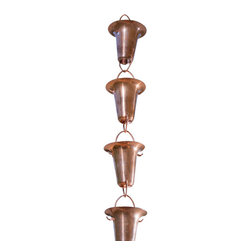 Monarch International Inc - Copper Funnel Rain Chain 8.5  Ft. - Monarch's 8.5 feet pure copper funnel rain chain in natural copper is contemporary in styling and shape
