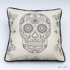 Day of the Dead Sugar Skull Linen Cushions | Street Anatomy Gallery Store
