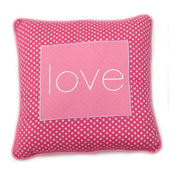 Simplicity Hot Pink - Decorative Pillow - Love - LIVE, LAUGH and LOVE with One Grace Place decorative throw pillows offered in all Simplicity Collections!  Made to accent any and all rooms. Pillows are designed with One Grace Place signature cotton fabrics and trimmed with welting in solid coordinating fabric.  Pillows match with all canvas art sets in these collections.  What a fun addition to any room!