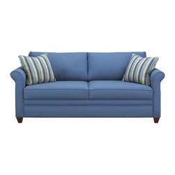 Savvy - Denver Queen Sleeper Sofa, Ranger Twill Blue, Gel Memory Foam - The Denver Queen Sleeper Sofa is our most compact rolled arm style.  The Denver is offered in your choice of 2 durable fabric options.