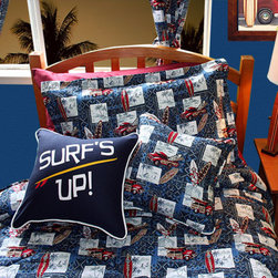 Surfer Bedding for the Bedroom - Surfer Bedding by Dean Miller Surf Bedding. Fun surf themed comforter, and surf's up! pillow make this surfer bedding perfect for any surfer you know.