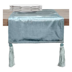 Z Gallerie - Velvet Runner - Add the luxurious look of our luminous seafoam Velvet Runner to your dining table to set the tone for elegant events. The silky cotton/viscose runner takes the opulence a step further with stylish tassels at each corner, attached with a button for removal when cleaning. Exclusive to Z Gallerie. Shown with our Quadra Dinnerware.