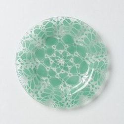"""Sheree Blum - Frosted Doily Dessert Plates - Made exclusively for us by Sheree BlumWindow glass, enamelDishwasher safe 7.5"""" diameterUSA"""