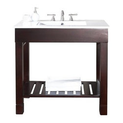 Avanity Loft 36-in. Single Bathroom Vanity with Optional Mirror - The Avanity Loft 36-in. Single Bathroom Vanity with Optional Mirror has all the perks and the same dashing look as the other Loft vanities, but with extra counter-space. Solid birch is underlined by a dark walnut finish in this piece, topped by a white vitreous china countertop that is fitted for a single faucet (not included). Two stainless steel towel racks are built into the frame, as well as a slatted open shelf for extra storage. Adjustable height levelers are included for uneven floors. A mirror (36W x 1.1D x 31.5H inches) with a matching birch-and-walnut frame is optional.About Avanity CorporationAvanity's goal has always been to provide the public with the best products possible at the fairest prices. To this end, their customer service style is about listening to their customer, not just hearing them. Avanity is confident in their products, ensuring each of them has a one-year manufacturer's warranty. Avanity also takes note of increasing market trends to stay ahead of the game and provide the most cutting-edge products available.