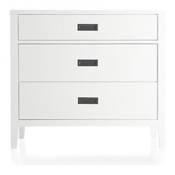 Arch White Three-Drawer Chest - Classic cottage styling in spritely bright white reads warm, crisp and current. Lean solid poplar frame outlines with the subtle grace note of the trim divider between the upper and lower two drawers. Inset antiqued brass pulls and smartly tapered legs complete the fresh, contemporary look.