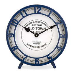 iMax - iMax Essentials Marine Blue Desk Clock X-89279 - From the Essentials by Connie Post collection, the mellow yellow desk clock features an old town face design with a subtle retro style.