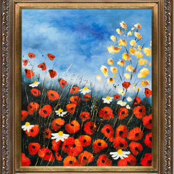 """overstockArt.com - Pol Ledent - Red Poppies 451140 Oil Painting - 20"""" x 24"""" Oil Painting On Canvas Red poppies 451140 is a beautiful and colorful painting by Pol Ledent. It will bring color and light to every room. Pol Ledent was born in 1952 in Belgium. He came to painting in 1989. He started with watercolor but felt rapidly that oil painting would match his way of being. He is a self-taught painter. Nevertheless he took some drawing lessons in a Belgian academy. After taking part into numerous group exhibitions, some galleries in Belgium proposed to him to exhibit his works. Dinant, Bouillon, Brussels , Paris and Moscow in October 2006."""