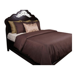 Addison Duvet Set, King - Brown Plum Linen like solid paired with a Flaxen accents. Print decorative pillow in Brown Plum, Flaxen and Sage.
