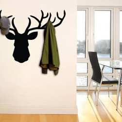 Coat rack wall decals - To hang your clothes on deer horns? Now that is possible with our shabby chic Deer coat rack sticker, an avant garde design that will bring some fun and fantasy to your decor. There are 5 different sizes to choose from - starts at $38.