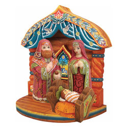 """Artistic Wood Carved Holy Family w/ Manger Nativity Sculpture - Measures 9.5""""H x 4.5""""L x 9.5""""W and weighs 1 lb. G. DeBrekht fine art traditional, vintage style sculpted figures are delightful and imaginative. Each figurine is artistically hand-painted with detailed scenes including classic Christmas art, winter wonderlands and the true meaning of Christmas, nativity art. In the spirit of giving G.DeBrekht holiday decor makes beautiful collectible Christmas and holiday gifts to share with loved ones. Every G. DeBrekht holiday decoration is an original work of art sure to be cherished as a family tradition and treasured by future generations. Some items may have slight variations of the decoration on the decor due to the hand painted nature of the product. Decorating your home for Christmas is a special time for families. With G. DeBrekht holiday home decor and decorations you can choose your style and create a true holiday gallery of art for your family to enjoy."""