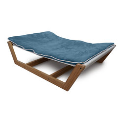 Pet Lounge Studios - Bambu Nautical Hammock ll, Blue, Medium - There is no need to sacrifice your finely planned home décor any longer while trying to integrate your pet into your home. We have done it again with our newest and most refined pet furniture piece ever, the Bambú Pet Hammock II. This incredible design is created with a sustainable and solid bamboo frame, a very unique mattress support system and the highest quality removable and washable cushion. Inspiration was drawn directly from the same philosophy used by some of the most recognized Scandinavian furniture designers, which was to showcase the natural beautiful of the materials used with simplicity.