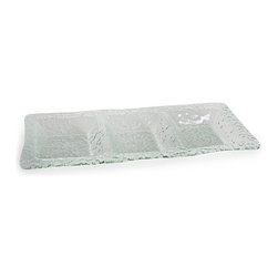 Danya B - Rectangular 3-Section Textured Glass Serving Platter - This rectangular 3 sectional textured glass tray is an attractive way to serve food and entertain. Hand wash recommended. Color/Finish: Textured glass. Recycled Glass. No Assembly Required. 21 in. L x 9 in. W x 1.5 in. H (3.9 lbs.)