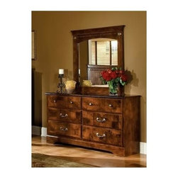 Standard Furniture - 2 Pc Dresser and Mirror Set with Faux Marble - Set includes Dresser and Mirror. Classic detailing and adornments provide architectural elegance with intricate carvings and interesting detail. Cast metal pulls in a simulated antique brass finish. Beautiful simulated Lafayette Oak color and contrasting Olive Ash Burl color finishes. Rich faux marble stone color tops present attractive, easy-to-clean surfaces. French dovetail construction throughout enhances durability. Roller side drawer guides provide ease and convenience. Quality wood products bonded together create durable construction throughout. Egg and dart carvings and antique brass color adornments create a cohesive appeal. Surfaces clean easily with a soft cloth. Products may contain some plastic parts. Dresser has six drawers which allows generous storage space. Top drawers are felt lined to protect delicate items. Dresser: 16 in. W x 58 in. L x 30 in. H (122 lbs.). Panel Mirror: 38 in. L x 42 in. H (30 lbs.)San Miguel, a Frisco brand, captures fashion and class through meticulous craftsmanship and attention to detail.