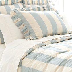 Madeline Stripe Blue Duvet Cover - Lovely with a timeless approach, this duvet will bring some romance to the bedroom. Go ahead and start lighting the candles!