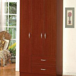 "Acme Furniture - Olean Wardrobe - Parts 1 in Cherry - Olean Wardrobe - Parts 1 in Cherry; Finish: Cherry; 2 Drawers, Large Door with 6 Shelves; Materials: PB & Paper Veneer; Dimensions: 36"" x 22"" x 72""H"