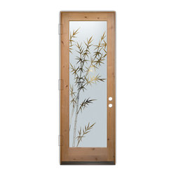 Sans Soucie Art Glass (door frame material T.M. Cobb) - Glass Front Entry Door Sans Soucie Art Glass Bamboo Forest - Sans Soucie Art Glass Front Door with Sandblast Etched Glass Design. Get the privacy you need without blocking the light, thru beautiful works of etched glass art by Sans Soucie!  This glass is semi-private.  (Photo is view from outside the home or building.)  Door material will be unfinished, ready for paint or stain.  Bronze Sill, Sweep and Hinges. Available in other sizes, swing directions and door materials.  Dual Pane Tempered Safety Glass.  Cleaning is the same as regular clear glass. Use glass cleaner and a soft cloth.