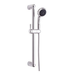 "Danze - Danze D465005 Chrome Nourish 3.5"" Multi Function Personal Hand Shower - 3.5"" Multi Function Personal Hand Shower with 3 Functions and 24"" Slide Bar Assembly Danze D465005 Product Description:  3 Functions Handshower: Regular, Massage and Aerated Drench 24"" Standard Slide Bar 72"" Metal Hose  Danze D465005 Specifications:  Weight: 5.1 lbs Shower Head Flow Rate: 2.5 gpm Shower Head Diameter: 3.5"" Diameter: 3.5 Height: 23.1875"