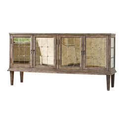 Hooker Furniture - Melange DeVera Mirrored Console - White glove, in-home delivery included!  Glamour anyone?  The DeVera Mirrored console delivers it.  Four doors with one adjustable shelf behind each pair.