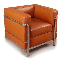 """Kardiel Le Corbusier Style LC2 Armchair, Caramel Aniline Leather - The Le Corbusier sofa set series was originally designed in 1928 for the Maison La Roche house in Paris. The design is the modernist response to the traditional club chair. The LC2 Petit (or Petite) series is the smaller of two versions Le corbusier created. Even in 1928, apartment living in Paris required a well thought out compact furniture design. Le Corbusier recognized this and designed for the need. A noticeable feature of the LC2 is the separate appearance of the additional top seat cushion. Remarkably comfortable and compact, Le Corbusier often referred to the pieces as """"cushion baskets"""". A striking feature of the LC2 is the externalized metal frame supporting the base, extending as the legs and running the entire length of the piece. Its not just the front of the LC2 that is attractive, the metal frame work means design detail from the sides and back allowing for easy placement even in the middle of a room. When designing in small spaces, the ability to place items in the middle of the room is no small features. The design is available in a 1, 2 and 3 seat version that share the same overall dimensions with the exception of the length. The Le Corbusier LC2 set is often used in a group of 2 chairs (1 seat version) and a single sofa or love (2 or 3 seat versions)."""