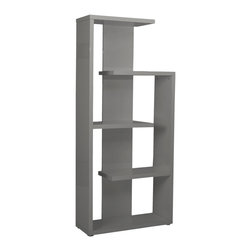 Euro Style - Robbie Shelving Unit - Gray Lacquer - Available in high gloss lacquer or wenge, these shelving pieces even look good empty! An unexpected set of shelving lengths and spaces makes Robbie a fitting showcase for books and all your favorite tchotchkes.