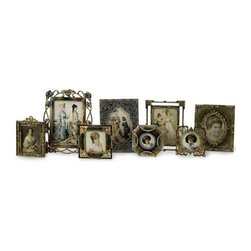 Vintage Jeweled Frames - Set of 8 - Set of eight vintage styled jeweled frames in various sizes.