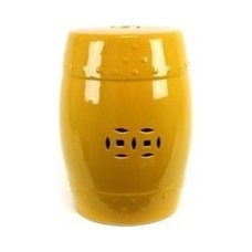 Chinoiserie Yellow Ceramic Stool Urban Trends Collection Stools Accent Furniture