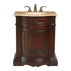 "30"" Catherine single Sink Vanity With Travertine Marble Top - An imposing piece by any standard, the 30"" Catherine Single Sink Vanity combines the elegance of a gleaming cherry wood finish with spectacular molding details to add traditional flair to any bathroom design. A gently curved single door with ornate metal hardware provides a spacious nook for all your storage needs."