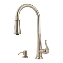 Price Pfister - Pfister GT529-YPK Ashfield One Handle Pulldown Kitchen Faucet - Price Pfister GT529-YPK is an Ashfield Series, or 4-hole kitchen pull-down faucet with matching soap dispenser. Can be mounted with deckplate for 4-hole configurations and without deckplate for 2-hole configurations. Includes adjustable spray volume control.