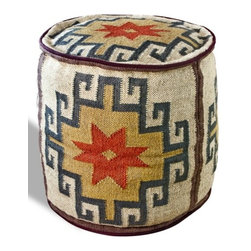 Interlude - Mount Fray Ottoman - Classic lodge style ottoman in kilim.  Great for bunching and party seating.