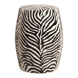 Kathy Kuo Home - Modern Zebra Print Ceramic Garden Seat Stool - Traditionally used in China as tea tables-these garden stools make a perfect addition to your living space as side tables, or clustered together to be used as a coffee table. Glazes are triple fired for added luster and shine. With a hand made product, glaze variations of up to 10% is to be expected.