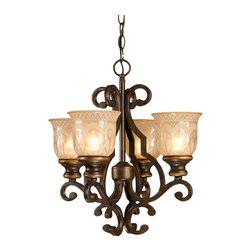 Crystorama - 4-Lights Wrought Iron Chandelier with Amber Glass Pattern - Wrought iron chandelier hand painted with a amber glass pattern.
