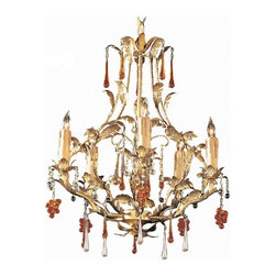 Crystorama - Crystorama Ritz Chandelier X-LG-5064 - The gold leaf finish and clear and amber crystal accents on the Ritz Collection are a perfect fit for any traditional setting.