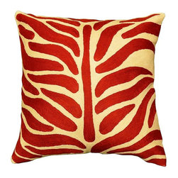 """Modern Wool - Tree of Life Red Cushion Cover Hand Embroidered 18"""" x 18"""" - Tree of Life Red Cushion Cover - Red! This vermillion pillow cover is a sure way to pep up your decor without a lot of fuss. Bold and bright, this is a contemporary take on the centuries old Tree of Life motif, so beloved by people in the Near East and around the world. Kashimiri Handcrafts are embroidered with the finest quality chain stitch needlework in the world. A pair of these will splash even the dullest decor, creating a focal point that will become a topic of conversation. You can tell them your pillow covers are one-of-a-kind workmanship. The wool cover is vibrant, beautiful, and durable -- perfect for your home, inside or out."""