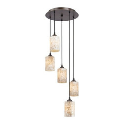 Design Classics Lighting - Bronze Multi-Light Pendant with Mosaic Glass and Five-Lights - 580-220 GL1026C - Neuvelle bronze finish five-light multi-light pendant with mosaic glass cylinder shades. Fits in decors from a coastal cottage to a light and airy contemporary home. Includes one bronze five-port ceiling canopy. Each mini-pendant comes with 7-feet of black cuttable cord that allows for custom height adjustability for each pendant. Takes (5) 100-watt incandescent A19 bulb(s). Bulb(s) sold separately. UL listed. Dry location rated.