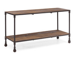 ZUO ERA - Mission Bay Wide 2 Level Shelf Distressed Natural - An elegant double shelved serving tray befitting of a Downton Abbey episode, this distressed table pairs the warmth of reclaimed fir wood with the efficiency of aged metal frames, for an industrial aristocratic look. Imperfect fir wood, rustic overtones and yet one can imagine a fancy affair surrounding this mobile unit.