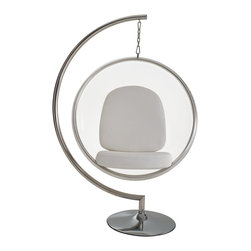 Modway - Eero Aarnio Style Bubble Chair with White Pillows - Sit in style with this white bubble chair. A hanging design and stainless steel finish highlights this fashionable chair.