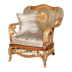 Royola Pacific - Solid Wood & Rattan Bentwood Elizabethan Lounge Arm Chair - •Solid wood construction w/ rattan accents