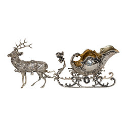 "European Silver ""Reindeer and Sleigh"" Table Ornament - The HighBoy, Craig Ringstad & Don Fields Antiques"