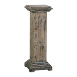 Uttermost - Alejo Aged Wood Pedestal - With hints of prussian blue paint on smooth, faded gray, weathered fir, this solid wooden pedestal makes a sturdy and attractive place for a statement piece.