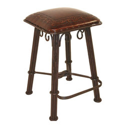 New World Trading - Classico Western Counter Stool w Wrought Iron Base in Serpentine Design & Hand-T - When just another counter stool isn't an option, try this rough and ready Classico model on for size. It features a sturdy wrought iron base with elegant scrolls & twists. And you'll love the genuine leather seat for supreme comfort. Nailhead trim finishes this exciting stool. Hand tooled leather seat. Classico design. 16 in. L x 16 in. W x 36 in. H (26 lbs.)
