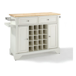 Crosley Furniture - Crosley Furniture Lafayette Natural Wood Top Wine Island in White - Wine lovers will entertain in style with Crosley's Kitchen Wine Cart.  Whether you're a connoisseur of fine wines or simply a casual fan, Crosley's Kitchen Wine Cart offers the utmost in entertaining convenience.  The cabinet features a 20-bottle wine rack and side-mounted 3-bottle wine valet and the top provides ample surface space for presentation of your wine and cheese alike. Raised panel doors conceal the adjustable inner shelving and two sliding drawers provide several options for storage. Wine cabinets come in one of four signature Crosley finishes featuring one of four surfaces - including wood, stainless steel or solid granite.