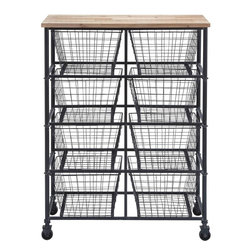 """Benzara - Metal Wood Storage Mobile Cart with 41"""" H, 29 - Carrying stuff across workstations can be quite a hassle. Not anymore, thanks to this ingenious storage cart made from metal and wood. You can store a large number of loose items in the metal baskets included with the cart. It has four rows of two metal baskets each. Items such as loose machine parts, tools, art supplies, magazine stacks, computer peripherals, AV equipment and any other stuff can easily be rolled around using this cart. This tall storage cart can be easily moved around owing to the high-quality casters used underside. The flat wooden top of this cart also helps carry stuff and prevents things from falling off from the top baskets. The wood used on top sustains wear and tear. The entire frame of this cart is manufactured from high-quality metal that is rust-resistant and very durable. The metal baskets themselves are sturdy enough to bear the weight of a variety of items with ease..; Mobile storage cart; Wooden top with metal frame; Eight metal baskets arranged in four rows; High-quality casters for easy movement; Weight: 28.6 lbs; Dimensions:29""""W x 12""""D x 41""""H12.5""""W x 10""""D x 8""""H"""