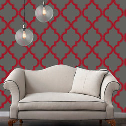 LOLLIPROPS, INC., LPI - Marrakesh, Ruby Slate - This iconic pattern evokes the storied romance of Marrakech without leaving your home. You can easily add a bit of bold design and color to any room with this peel-and-stick technology. It's perfect for renters or anyone who likes to play with their home design.