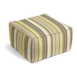 Purple & Green Modern Stripe Square Pouf - The Square Pouf is the hottest thing in decor since the sectional sofa. This bean bag meets Moroccan style ottoman does triple duty as a comfy extra seat, fashion-forward footstool, or part-time occasional table.  We love it in this red, orange, yellow & taupe multi stripe that feels modern with a need for speed.