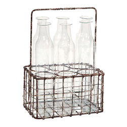 Craiova Milk Glass Bottle Holder - *Inspired by old fashioned milk service, the Craiova rustic metal is aged to give an authentic look, while the glass bottles are made from earth friendly recycled glass. Use as decoration or as a group of floral bud holders to add some feminine flair to any home.