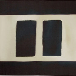 """Huddleson Linens - Rothko-inspired Linen Tablecloth, 66""""x96"""" - Stunning artistic tablecloth that will elevate any meal to a banquet.  Wide blue-black border frames two pillars on rich cream background.  Inspired my Mark Rothko's 1950s murals for the Four Seasons restaurant in New York's Seagram Building.  Tablecloth retains the texture of the brushstrokes from the original painted artwork. Machine washable."""