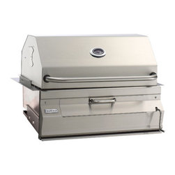 "Fire Magic - Fire Magic 14-S101C-A Built-In Charcoal Grill With Oven Hood - This grill offers a true 30"" across the cooking surface, not the FRAME of the grill like others measure. The total cooking area is approximately 540 sq. inches. The grill also has a high dome lid to accomodate larger pieces of meat.Front loading door makes it easy to add more charcoal while the unit is in operation. That means you don't have to remove the cooking grids and the meat to add more fuel to the fire! Every Firemagic Charcoal Barbecue includes easy temperature control by literally turning the front-mounted crank to raise and lower the fire. Firemagic Charcoal grills also feature heavy-duty specially-textured cooking grids that are made of thick 5/16"" rod. These grids will last a lifetime and are perfect for cooking many types of food. The textured finish also helps food resist sticking to them.These charcoal units allow you to match up Firemagic gas unit accessories for your complete outdoor kitchen or cooking package. All offered by a company that has been building outdoor barbecues for almost 50 years! You know they will be here tomorrow. All Firemagic grills are high BTU and should only be used in Non-combustible cabinets. The cut out dimensions for the Gourmet 30"" charcoal grill are 32 1/4""W, 19 3/4""D and 12""H. Should your cabinet be constructed from wood or any other combustible material, please see the available insulating liner that should be purchased for your application. Please note that the cut out dimensions will be different."